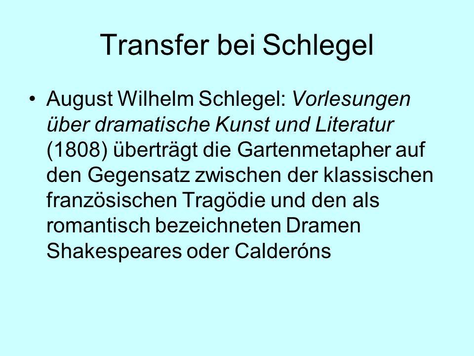 Transfer bei Schlegel August Wilhelm Schlegel: Vorlesungen über dramatische Kunst und Literatur (1808) überträgt die Gartenmetapher auf den Gegensatz