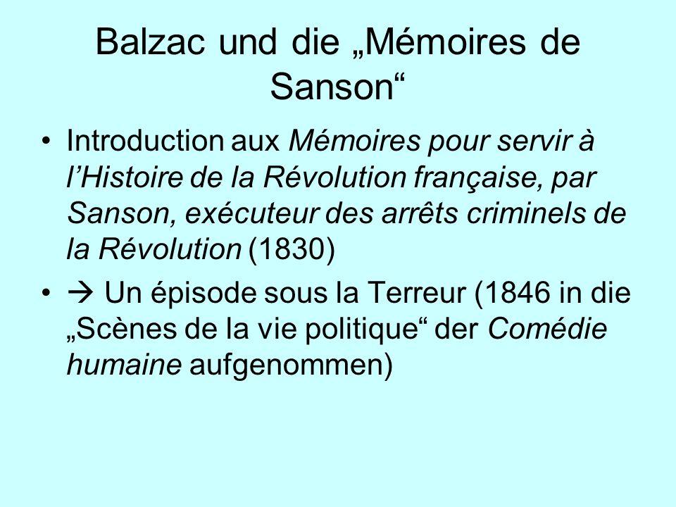 Balzac und die Mémoires de Sanson Introduction aux Mémoires pour servir à lHistoire de la Révolution française, par Sanson, exécuteur des arrêts crimi