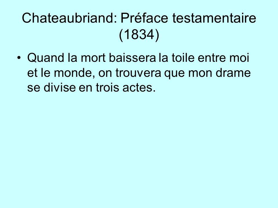 Chateaubriand: Préface testamentaire (1834) Quand la mort baissera la toile entre moi et le monde, on trouvera que mon drame se divise en trois actes.