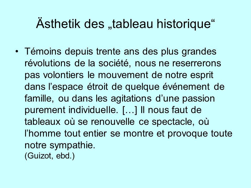 Ästhetik des tableau historique Témoins depuis trente ans des plus grandes révolutions de la société, nous ne reserrerons pas volontiers le mouvement