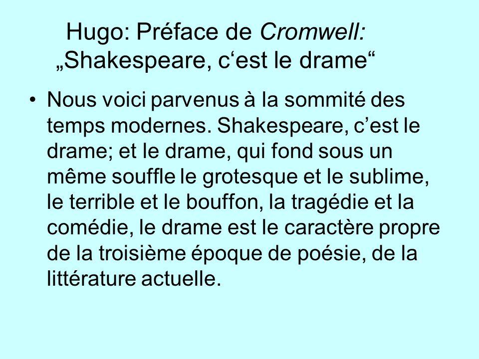 Hugo: Préface de Cromwell: Shakespeare, cest le drame Nous voici parvenus à la sommité des temps modernes. Shakespeare, cest le drame; et le drame, qu