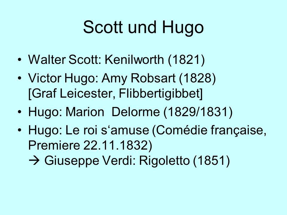 Scott und Hugo Walter Scott: Kenilworth (1821) Victor Hugo: Amy Robsart (1828) [Graf Leicester, Flibbertigibbet] Hugo: Marion Delorme (1829/1831) Hugo