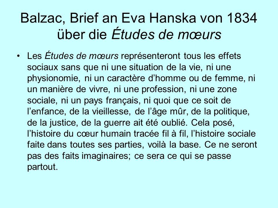 Balzac, Brief an Eva Hanska von 1834 über die Études de mœurs Les Études de mœurs représenteront tous les effets sociaux sans que ni une situation de