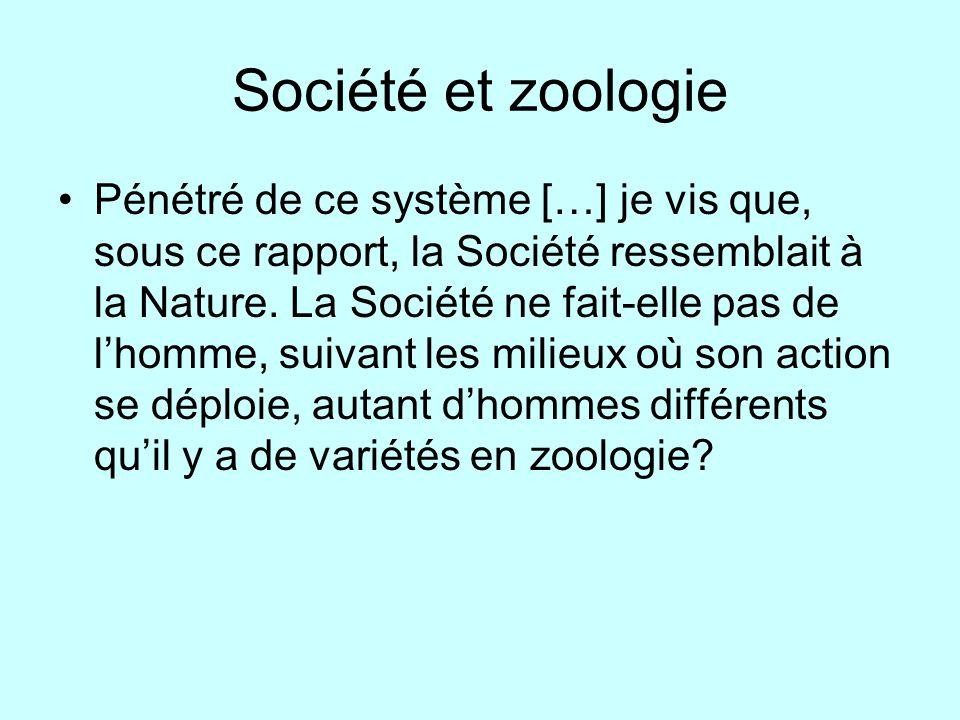 Société et zoologie Pénétré de ce système […] je vis que, sous ce rapport, la Société ressemblait à la Nature. La Société ne fait-elle pas de lhomme,