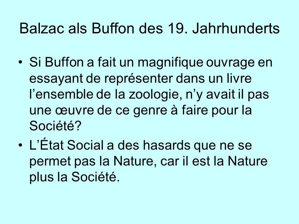 Balzac als Buffon des 19. Jahrhunderts Si Buffon a fait un magnifique ouvrage en essayant de représenter dans un livre lensemble de la zoologie, ny av