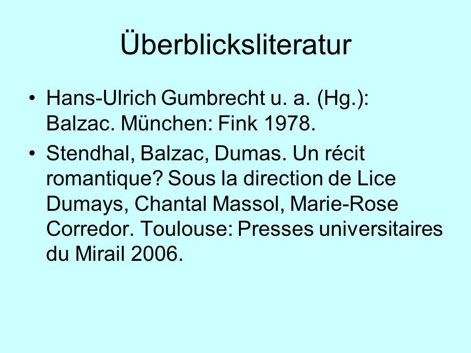 Überblicksliteratur Hans-Ulrich Gumbrecht u. a. (Hg.): Balzac. München: Fink 1978. Stendhal, Balzac, Dumas. Un récit romantique? Sous la direction de