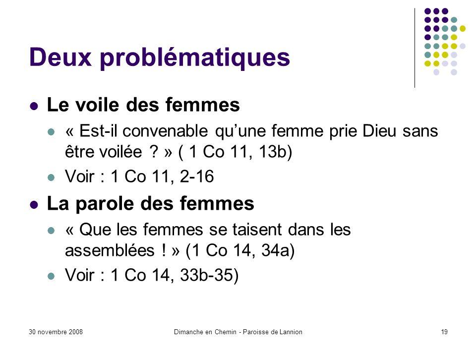 30 novembre 2008Dimanche en Chemin - Paroisse de Lannion19 Deux problématiques Le voile des femmes « Est-il convenable quune femme prie Dieu sans être voilée .