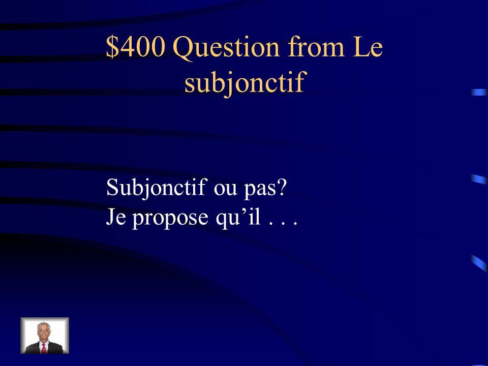 $400 Question from Vocabulaire Un synonyme pour mari est un _______.