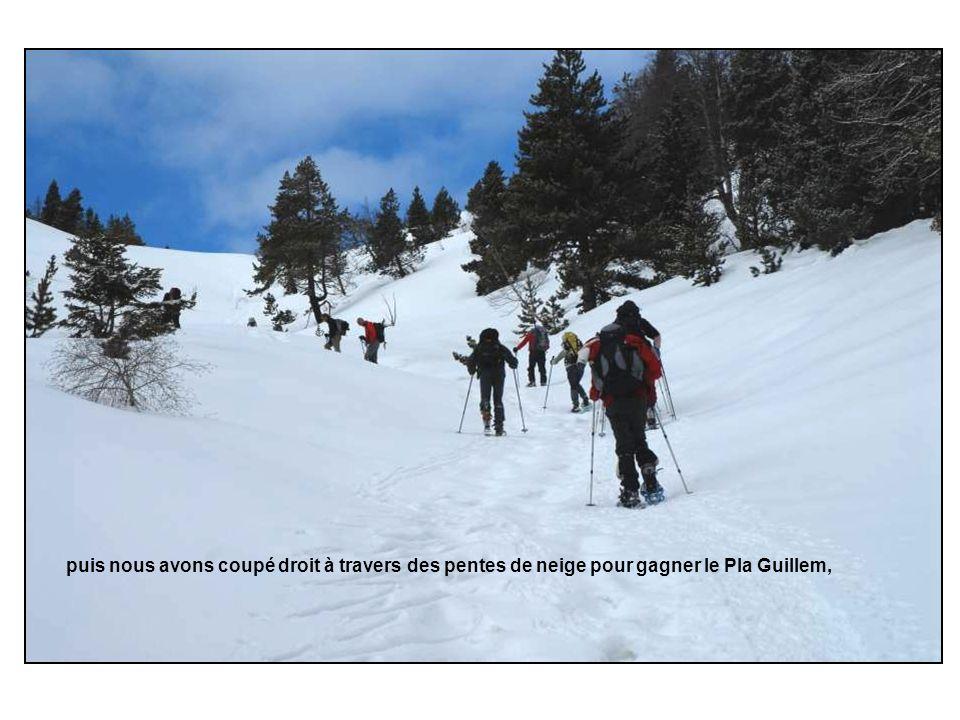 puis nous avons coupé droit à travers des pentes de neige pour gagner le Pla Guillem,