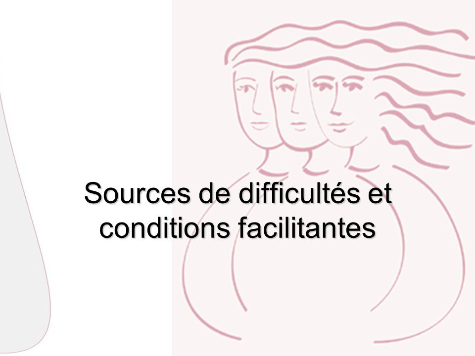 Sources de difficultés et conditions facilitantes