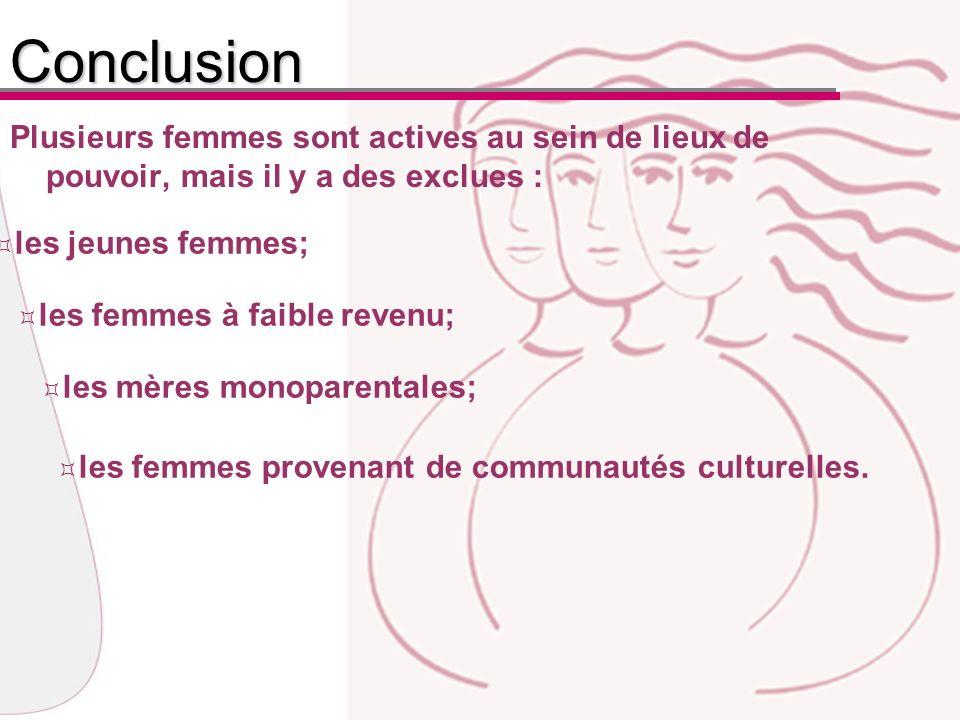 Plusieurs femmes sont actives au sein de lieux de pouvoir, mais il y a des exclues :Conclusion les jeunes femmes; les femmes à faible revenu; les mères monoparentales; les femmes provenant de communautés culturelles.