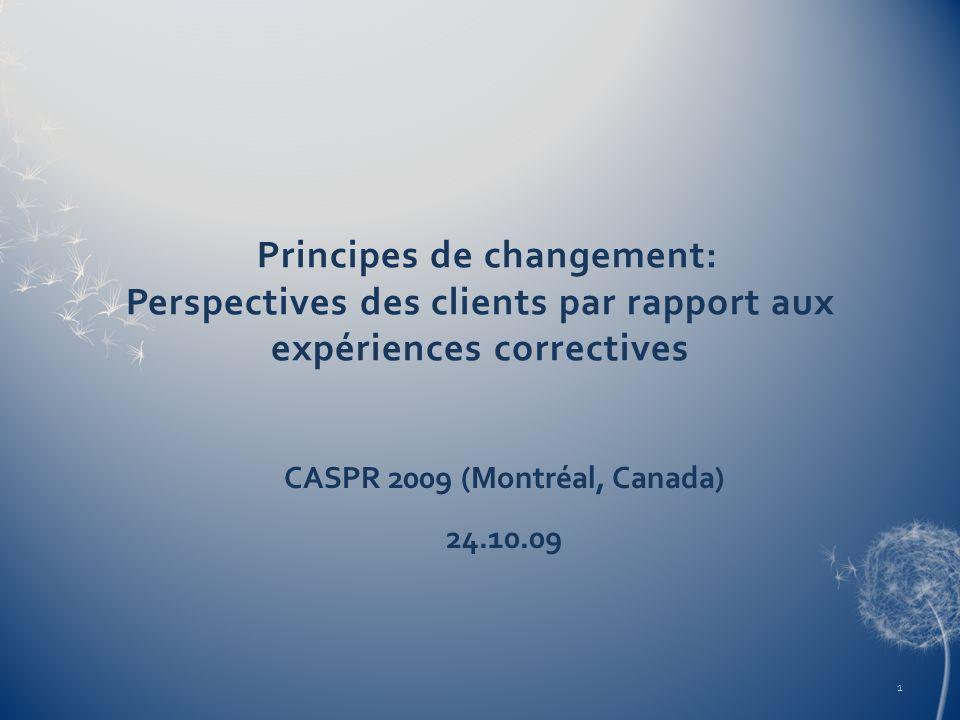 Principes de changement: Perspectives des clients par rapport aux expériences correctives CASPR 2009 (Montréal, Canada) 24.10.09 1