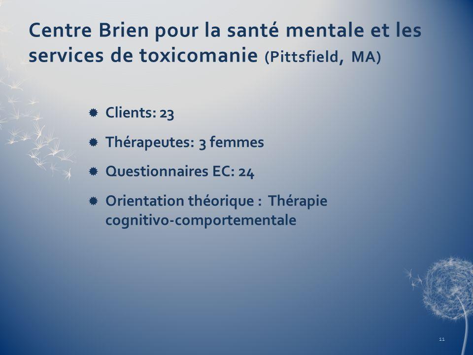 Centre Brien pour la santé mentale et les services de toxicomanie (Pittsfield, MA) Clients: 23 Thérapeutes: 3 femmes Questionnaires EC: 24 Orientation