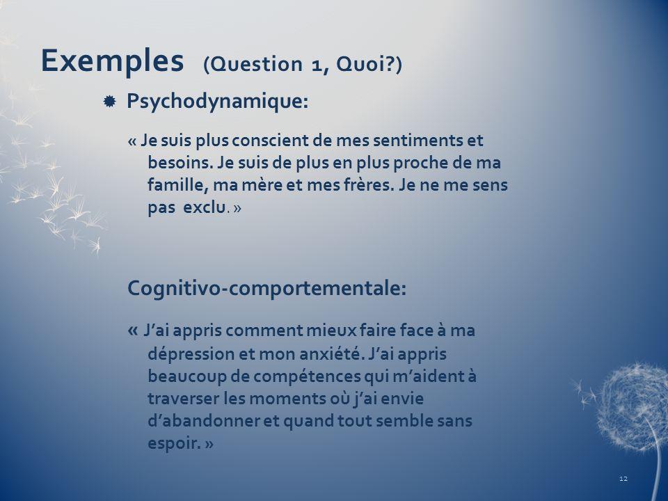 Exemples (Question 1, Quoi?) Psychodynamique: « Je suis plus conscient de mes sentiments et besoins. Je suis de plus en plus proche de ma famille, ma