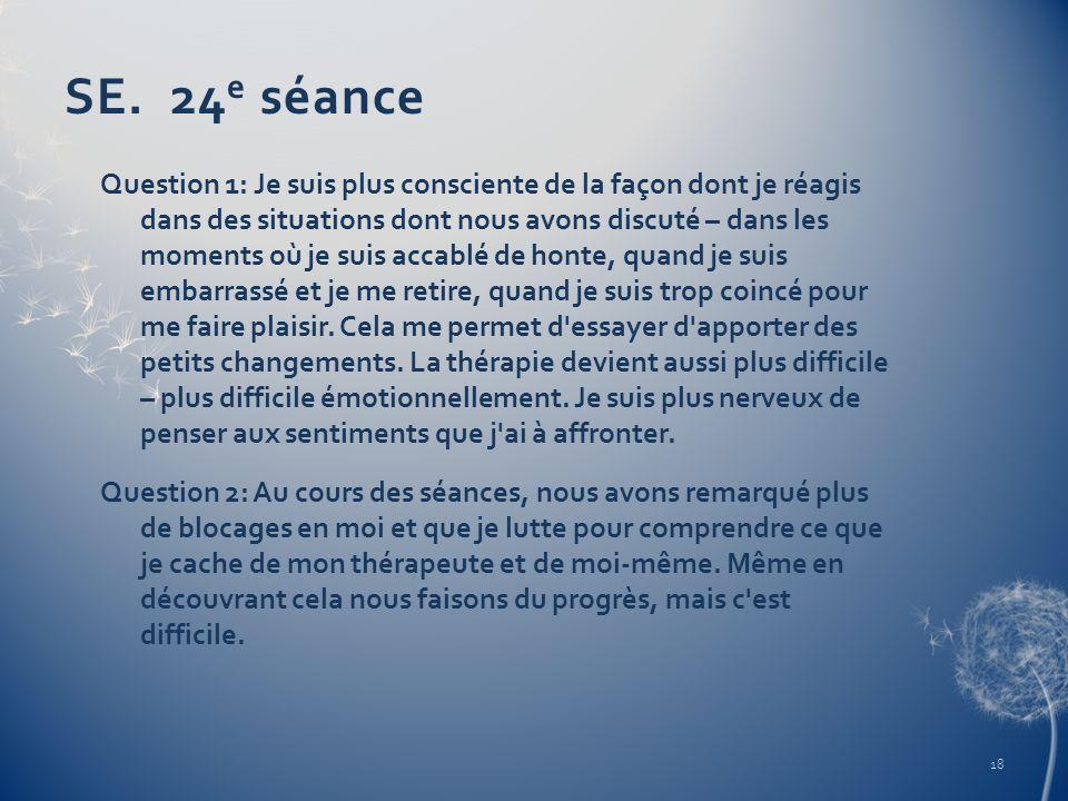 SE. 24 e séance Question 1: Je suis plus consciente de la façon dont je réagis dans des situations dont nous avons discuté – dans les moments où je su