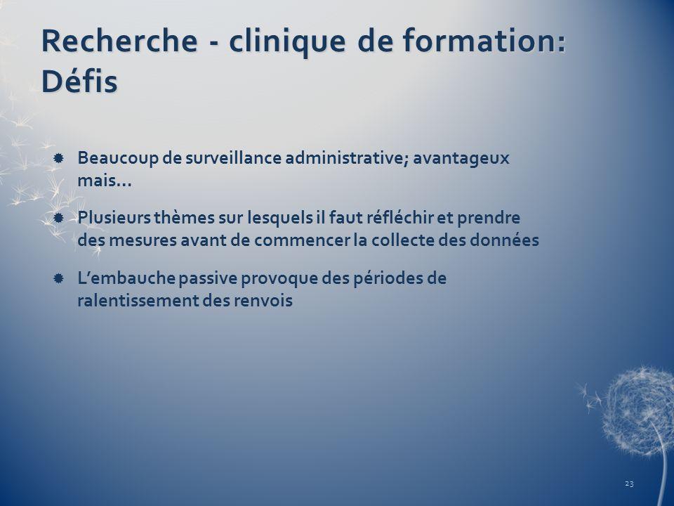 Recherche - clinique de formation: Défis Beaucoup de surveillance administrative; avantageux mais… Plusieurs thèmes sur lesquels il faut réfléchir et