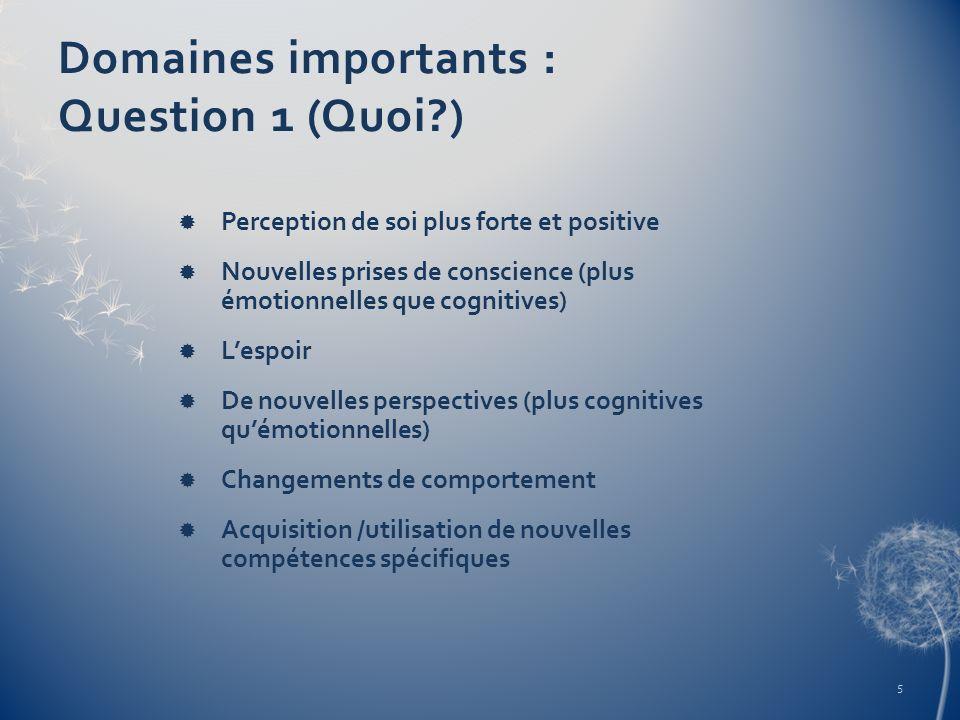 Domaines importants : Question 1 (Quoi?) Perception de soi plus forte et positive Nouvelles prises de conscience (plus émotionnelles que cognitives) L