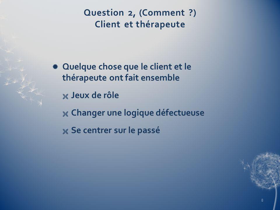 Question 2, (Comment ?) Client et thérapeute Quelque chose que le client et le thérapeute ont fait ensemble Jeux de rôle Changer une logique défectueu