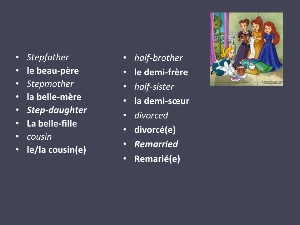 Stepfather le beau-père Stepmother la belle-mère Step-daughter La belle-fille cousin le/la cousin(e) half-brother le demi-frère half-sister la demi-sœur divorced divorcé(e) Remarried Remarié(e)