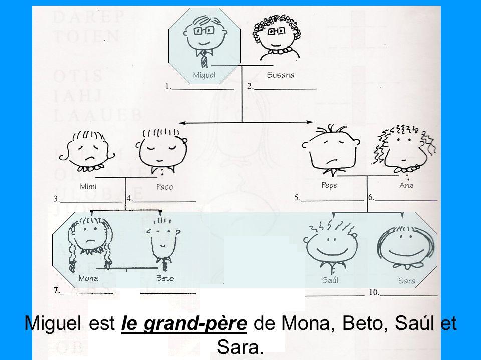 le grand-père Miguel est le grand-père de Mona, Beto, Saúl et Sara.