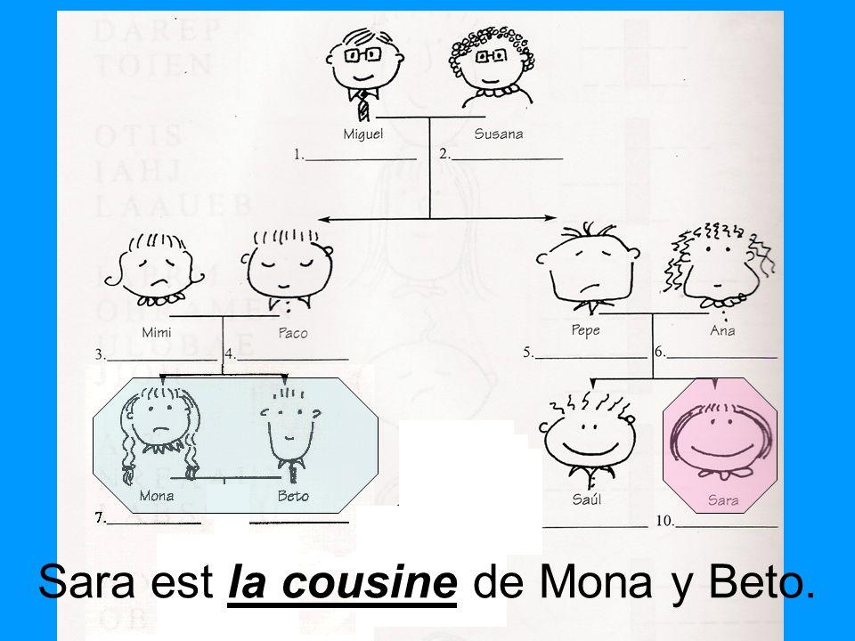 la cousine Sara est la cousine de Mona y Beto.