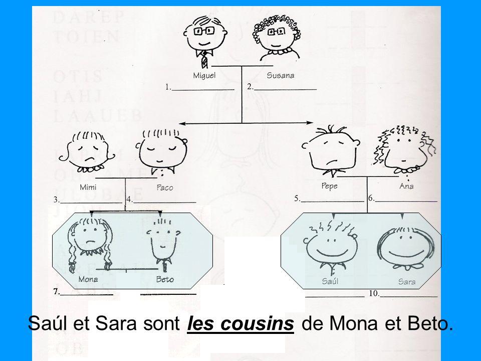 les cousins Saúl et Sara sont les cousins de Mona et Beto.