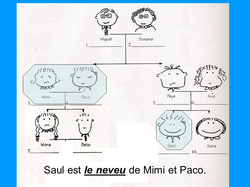 le neveu Saul est le neveu de Mimi et Paco.