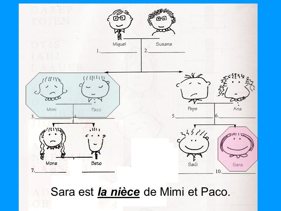 la nièce Sara est la nièce de Mimi et Paco.