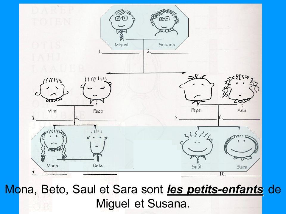 les petits-enfants Mona, Beto, Saul et Sara sont les petits-enfants de Miguel et Susana.