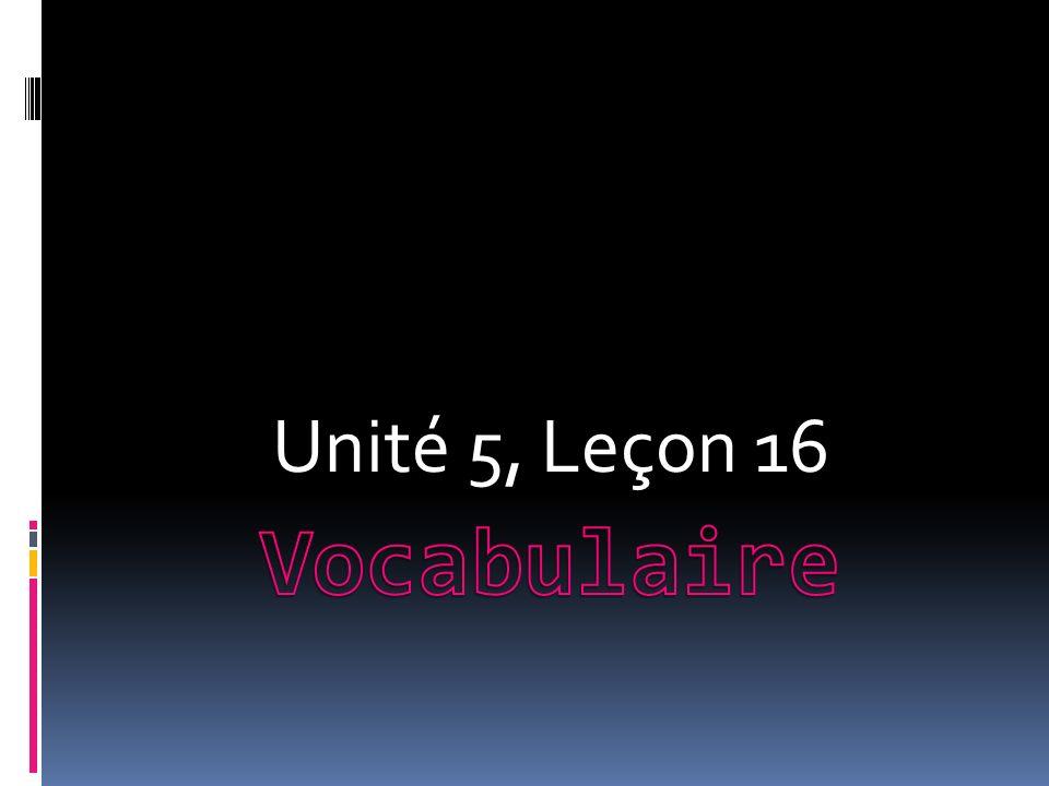 Unité 5, Leçon 16