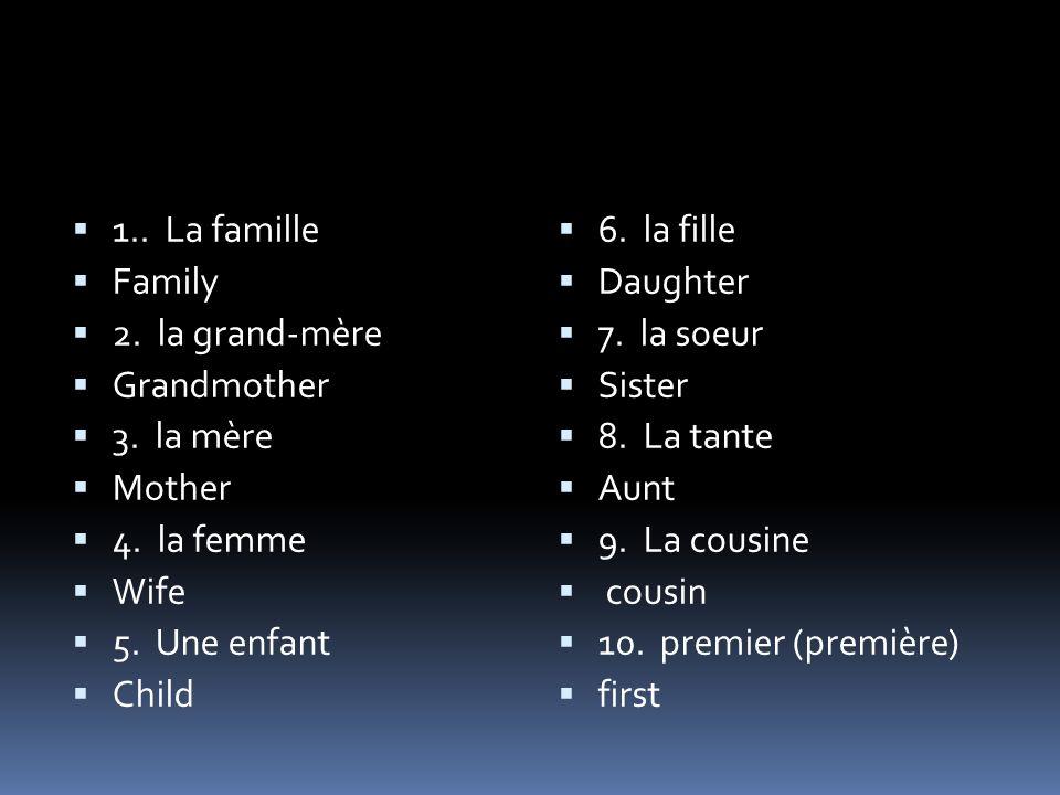 1.. La famille Family 2. la grand-mère Grandmother 3.