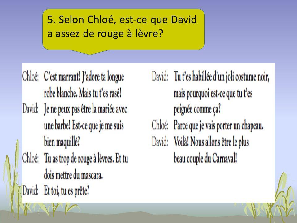 5. Selon Chloé, est-ce que David a assez de rouge à lèvre?