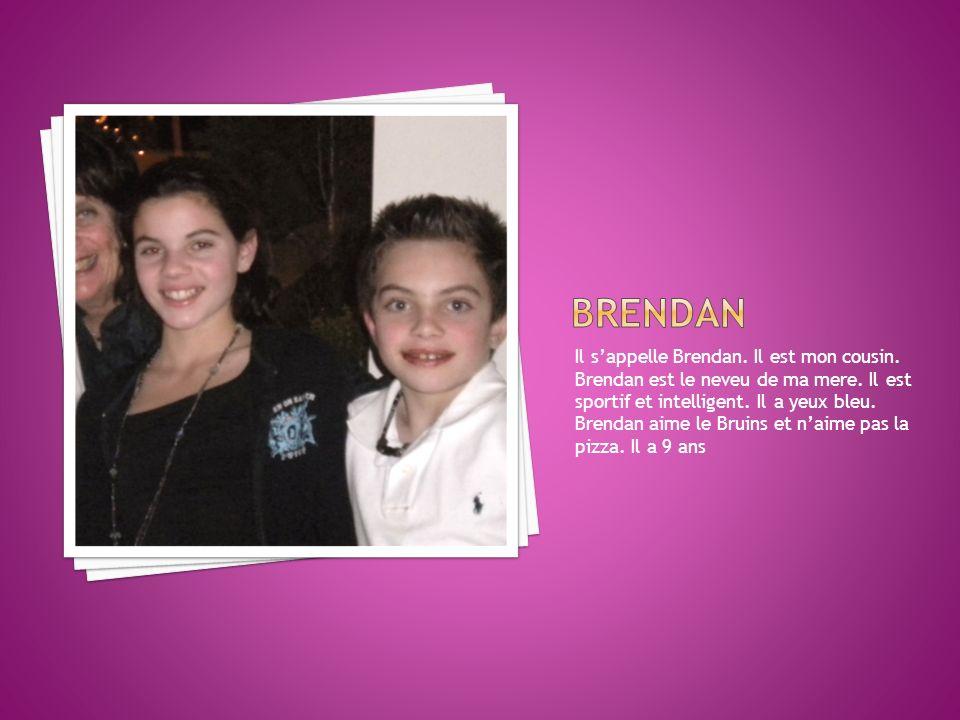 Il sappelle Brendan. Il est mon cousin. Brendan est le neveu de ma mere. Il est sportif et intelligent. Il a yeux bleu. Brendan aime le Bruins et naim
