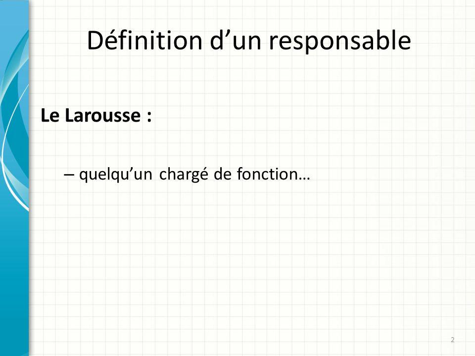 Définition dun responsable Le Larousse : – quelquun chargé de fonction… 2