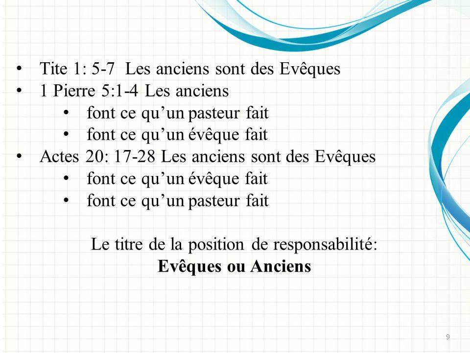 Tite 1: 5-7 Les anciens sont des Evêques 1 Pierre 5:1-4 Les anciens font ce quun pasteur fait font ce quun évêque fait Actes 20: 17-28 Les anciens sont des Evêques font ce quun évêque fait font ce quun pasteur fait Le titre de la position de responsabilité: Evêques ou Anciens 9