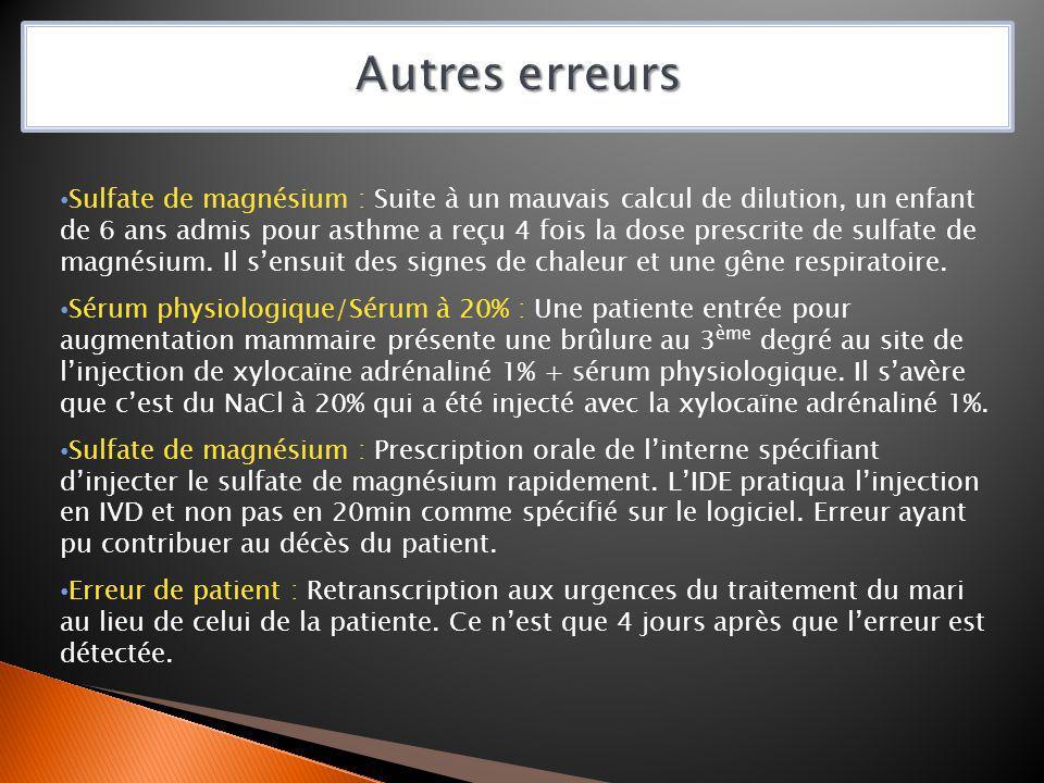 Sulfate de magnésium : Suite à un mauvais calcul de dilution, un enfant de 6 ans admis pour asthme a reçu 4 fois la dose prescrite de sulfate de magné