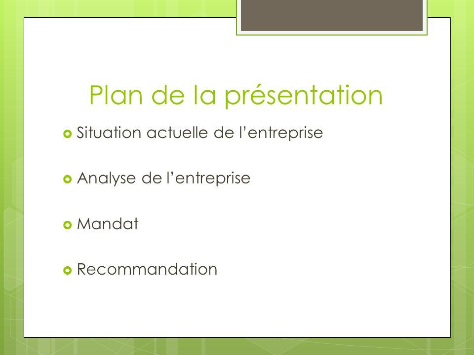 Plan de la présentation Situation actuelle de lentreprise Analyse de lentreprise Mandat Recommandation