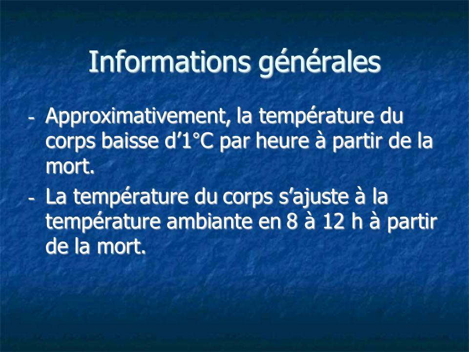 Informations générales - Approximativement, la température du corps baisse d1°C par heure à partir de la mort. - La température du corps sajuste à la
