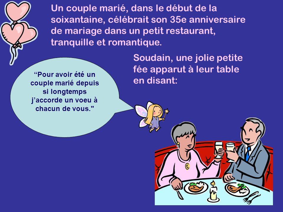 Un couple marié, dans le début de la soixantaine, célébrait son 35e anniversaire de mariage dans un petit restaurant, tranquille et romantique.