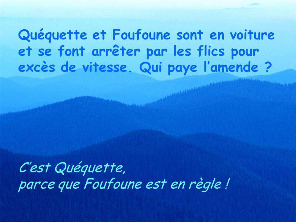 Quéquette et Foufoune sont au resto. Qui paye laddition ? Cest Foufoune, parce que Quéquette est raide et que Foufoune a du liquide !