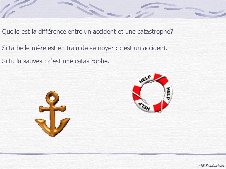 MG Production Quelle est la différence entre un accident et une catastrophe? Si ta belle-mère est en train de se noyer : c'est un accident. Si tu la s