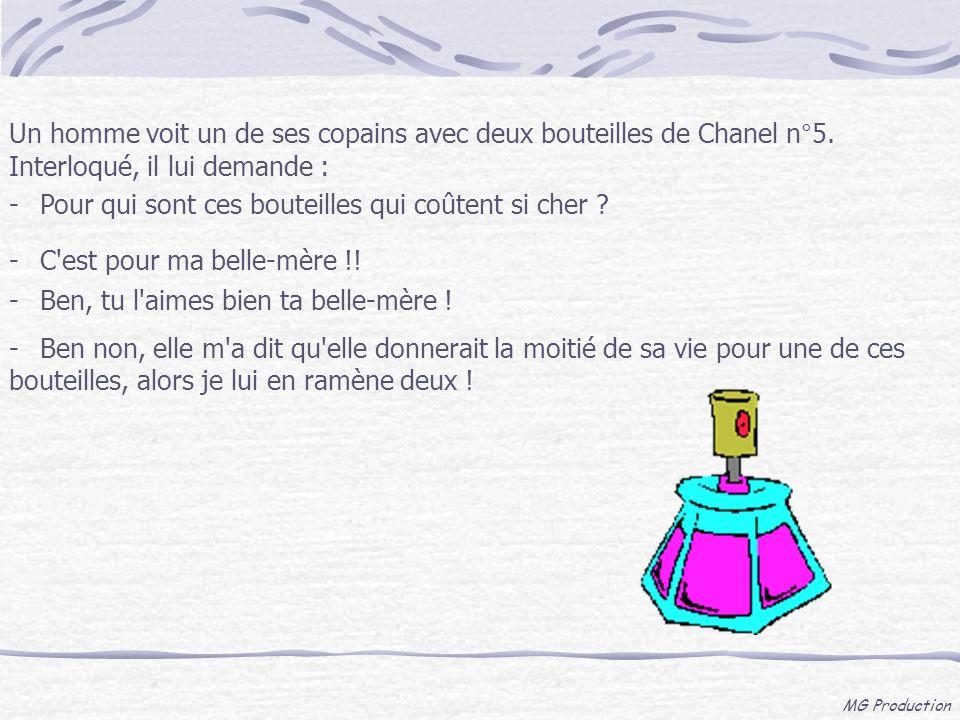 MG Production Un homme voit un de ses copains avec deux bouteilles de Chanel n°5. Interloqué, il lui demande : -Pour qui sont ces bouteilles qui coûte