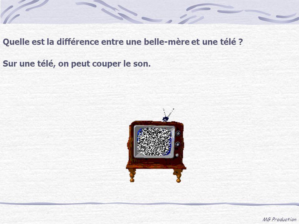 MG Production Quelle est la différence entre une belle-mère et une télé ? Sur une télé, on peut couper le son.