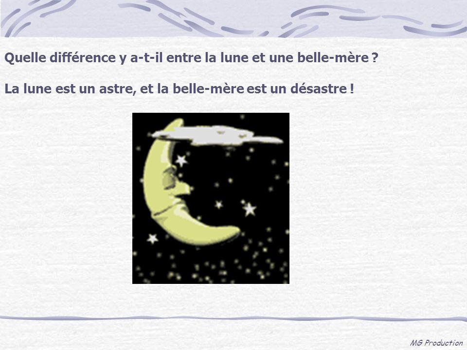 MG Production Quelle différence y a-t-il entre la lune et une belle-mère ? La lune est un astre, et la belle-mère est un désastre !