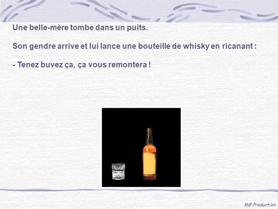 MG Production Une belle-mère tombe dans un puits. Son gendre arrive et lui lance une bouteille de whisky en ricanant : - Tenez buvez ça, ça vous remon
