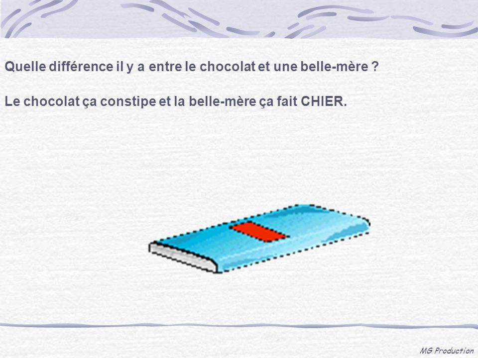 MG Production Quelle différence il y a entre le chocolat et une belle-mère ? Le chocolat ça constipe et la belle-mère ça fait CHIER.