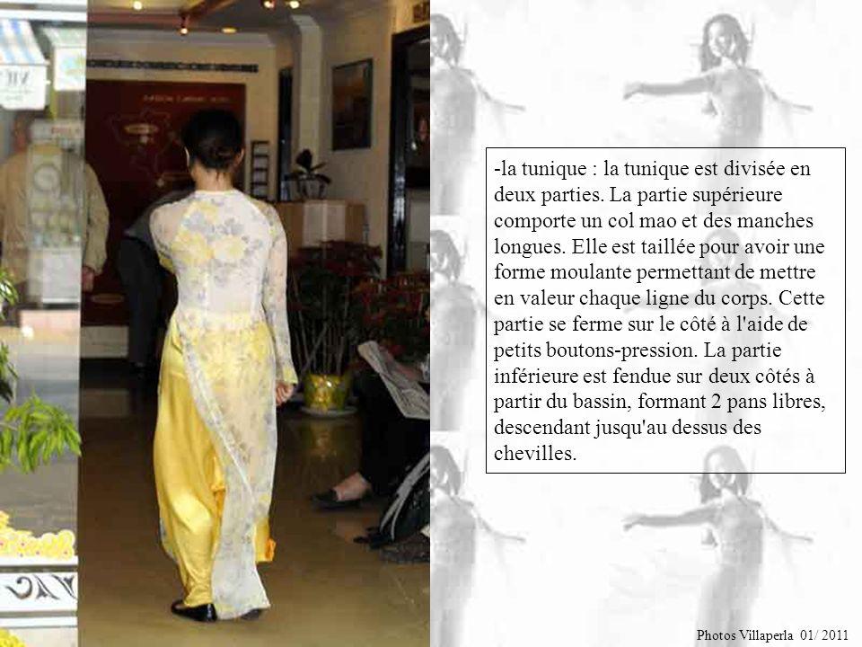 Le Áo dài est composée de 2 pièces séparées : - le pantalon à taille haute. Il est serré au niveau de la taille par une ceinture élastique ou par une