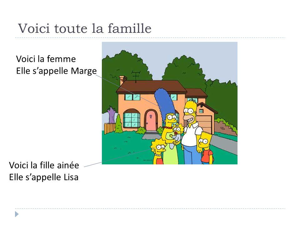 Voici toute la famille Voici la femme Elle sappelle Marge Voici la fille ainée Elle sappelle Lisa