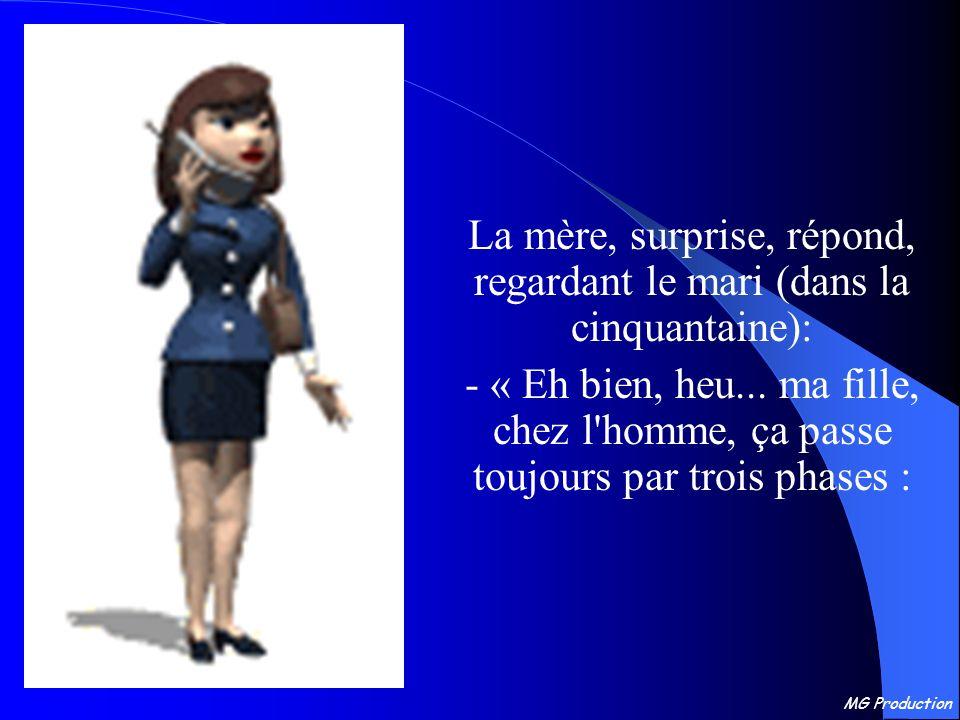 MG Production La mère, surprise, répond, regardant le mari (dans la cinquantaine): - « Eh bien, heu...