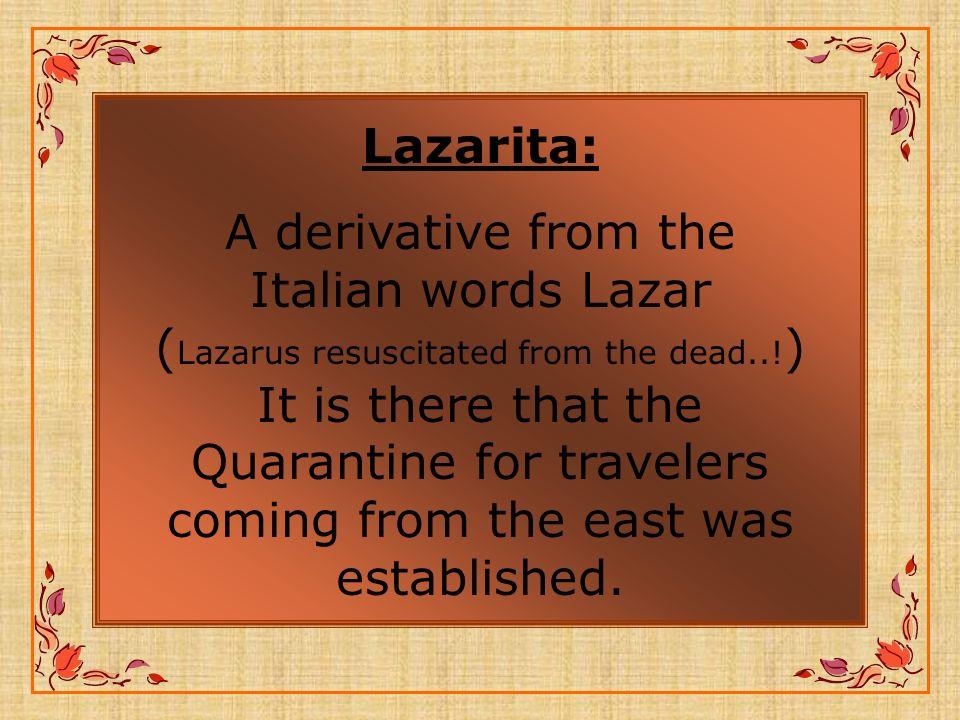 Lazarita: A derivative from the Italian words Lazar ( Lazarus resuscitated from the dead...